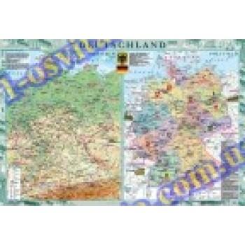 Географічна карта країни: Deutschland (Німеччина) м-б 1:1 000 000 на планках