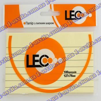 Бумага с липким слоем 127*76мм желт. 100л линия L1223