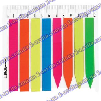 Индексы пласт. 44х12мм (20л х 8 цв.) с линейкой L1218